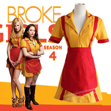 HOT 2 Broke Girls Caroline Cosplay Costumes Bar Snack Overalls Fashion Ladies Dress Red Apron Original Design