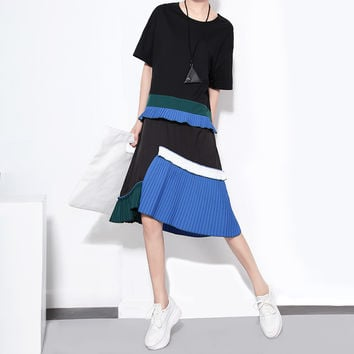 [TWOTWINSTYLE] 2016 Summer New Women T-shirt Splicing Ruffles Pleated Dress Loose Big One Size