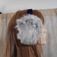 Genuine Grey Coyote Fur Earmuffs Womens Vintage Earmuffs Ear Muffs Vintage 80's