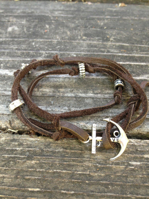 Brown Leather Wrap Around Bracelet with Silver Anchor Charm Hook