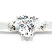 1 Carat Genuine Zirconia Heart Diamond Ring .925 Sterling Silver Rhodium Finish White Gold Quality