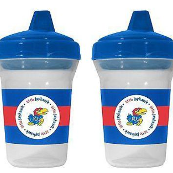 Kansas Jayhawks NCAA 5 oz Plastic Sippy Cups (Set of 2) BPA Free