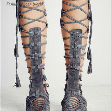 Choudory 2017 Women Knee High Boots Sexy Fringe Tassel Gladiator Sandals Cutouts Suede Flats Sandals Boots Native Shoes Woman