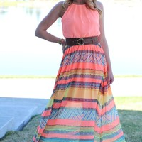 PLUS Summer Radiance Coral Maxi Dress
