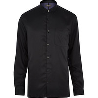 River Island MensBlack sleek long sleeve shirt