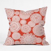 Heather Dutton Delightful Doilies Saffron Throw Pillow