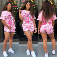 Victoria's secret PINK Woman Fashion Print Short Sleeve Top Shorts Set Two Piece