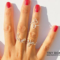 Love Statement Ring -   Love Ring -  Cocktail Ring -  Big  Ring - LOVE  Ring  - Sterling Silver Ring Filled - Adjustable Rings