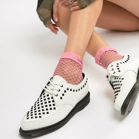 Dr Martens Willis White Leather Studded Flat Shoes at asos.com