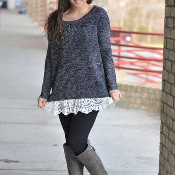Lovely Lace Sweater - Charcoal