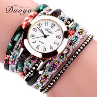 Women Flower Wristwatch Steel Luxury Bracelet Watch Multilayer Leather