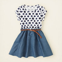 girl - dresses & rompers - sequin dot chambray dress | Children's Clothing | Kids Clothes | The Children's Place