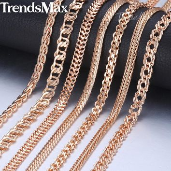 Trendsmax Necklaces For Women Men 585 Rose Gold Venitian Curb Snail Foxtail Link Chains Necklace Fashion Jewelry 50cm 60cm KCNN1