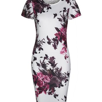 Streetstyle  Casual Courtly Floral Printed Round Neck Bodycon Dress