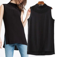 SIMPLE - Popular Fashionable Chiffon High Collar Neck Plaid Split T-shirt b2441