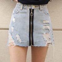 """Zip It"" Distressed Grommet Skirt"