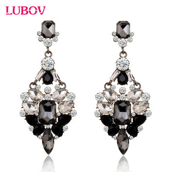 Big Crystal Rhinestone Stud Earring Trendy stud Earrings for Women Birthday Christmas Gift Fast Shipping 7.8x3.3cm 2017 New