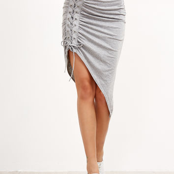 Grey Shirred Asymmetric Skirt