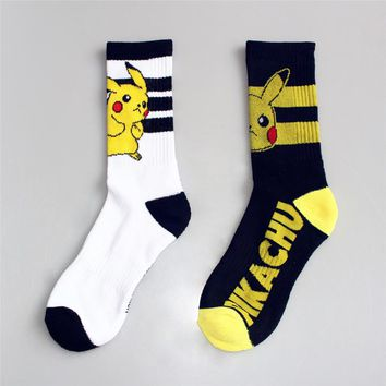 35-43 Crew Pokemon Socks Pocket Monster Pikachu PKMON Ash Ketchum THE ORIGIN Japan App Game Boy Poke Ball Lightning Pika Chu Men