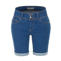 LE3NO Womens Stretchy Low Rise Fitted Rolled Cuff Denim Jean Bermuda Shorts