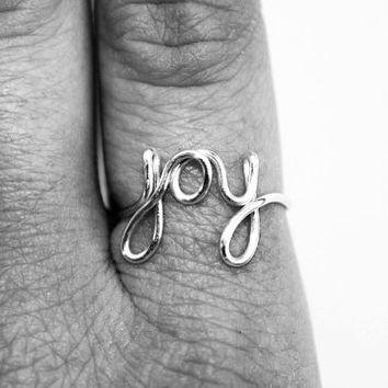 Joy Ring - Silver Wire Ring - Word Ring - Cursive Ring - Dainty Jewelry - Name Ring