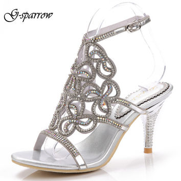 G-sparrow 2016 Designer High Heels Sandals Women Genuine Leather Open Toe Sandal Rhinestone Sexy Pumps Party Wedding Shoes