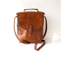 Vintage brown leather purse. distressed leather satchel. buckled purse. cross body bag. handle and shoulder strap