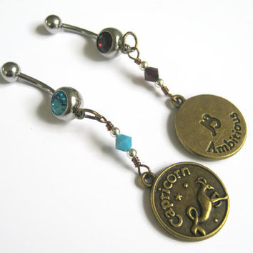 Capricorn Belly Ring, BRONZE Zodiac Belly Button Jewelry, Personalized Birthstone Piercing, Garnet Turquoise Jewelry, Astrology Navel Ring