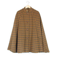 70s Eddie Bauer Plaid Wool Cape -- Vintage Wool Poncho -- Neutral Brown Plaid -- Leather Buttons -- Fully Lined -- Womens M