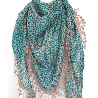 green leopard scar,lace scarf,scarf,gift