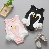 New Tutu White Swan Ruffles Romper Baby Kids Clothes Girl Romper Jumpsuit Playsuit Outfits Costume