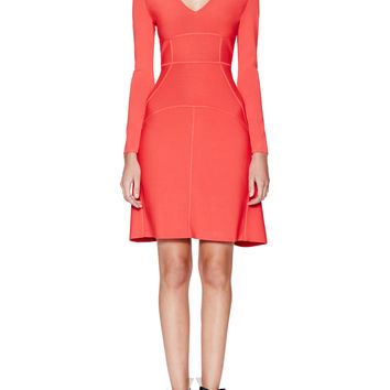 BCBGMAXAZRIA Women's Sydney V-Neck Ribbed Dress - Red -