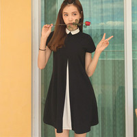 Free Shipping Solid color Baby boll Collar Cute Sweet Dress