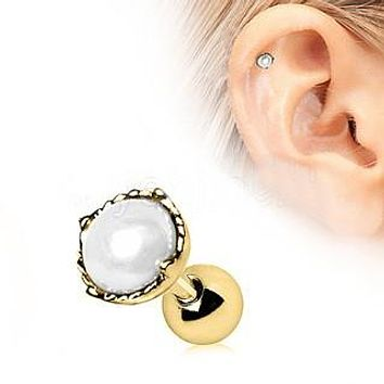 Gold Crown Pearl Cartilage Earring