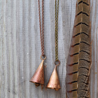 Ring My Necklace  Copper Metalwork Handmade Bell  Long Statement Necklace