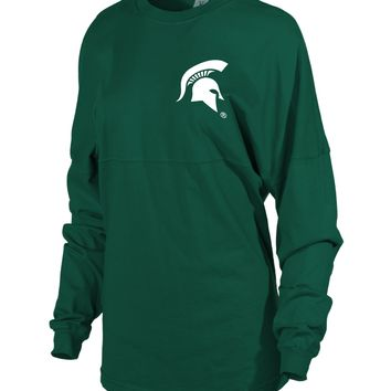 Official NCAA Michigan State University Spartans MSU Sparty Women's Long Sleeve Spirit Wear Jersey T-Shirt