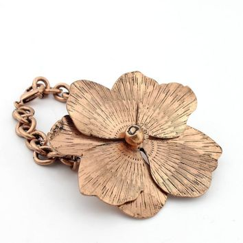 European and American jewelry big brand rose gold leaf bracelet female retro exaggeration luxury accessories EE