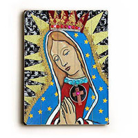 Virgin Mary by Artist Heather Diamond Wood Sign