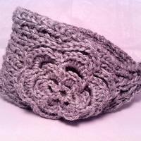 Knitted Winter Headband Chunky Gray Tweedy Bulky Knit Crochet Headbands