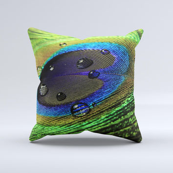 Watered Neon Peacock Feather Ink-Fuzed Decorative Throw Pillow