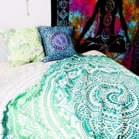 GiGi Green Blue Ombre Bohemian Beach Wall Boho Tapestry