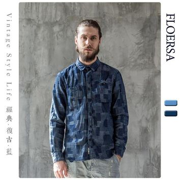 FLOERSA Brand Clothing Men's Denim Shirt 100% Cotton Casual Patchwork Men Shirt Slim Fit Long Sleeve Shirt Camisas#080-1-45