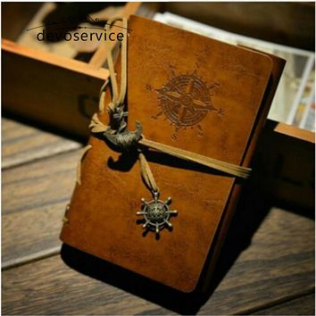 Free shipping Soft Cover Leather Diary Book Notebook Vintage Pirate Replaceable Traveler Notepad Notebooks Journal Daily Memo