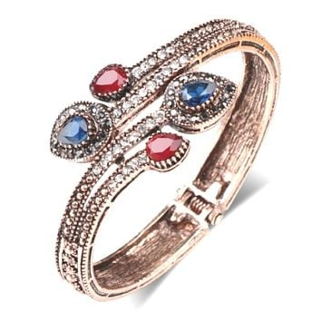 Antique Gold Bangle Bracelet with Red and Blue Stones