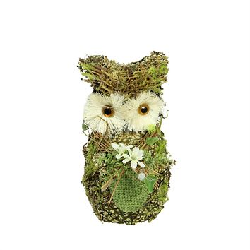 """8.5"""" Brown and Green Decorative Owl Spring Table Top Figure"""