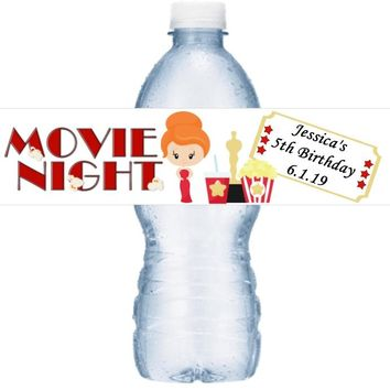 21 Personalized Movie Oscar Night Birthday Party Water Labels Red Hair