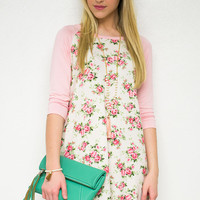 Pretty As A Rose 3/4 Sleeve Dress