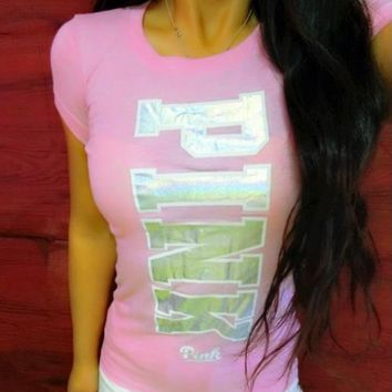 Victoria's Secret PINK Fashion Silver Logo Short Sleeve T-Shirt Top Tee