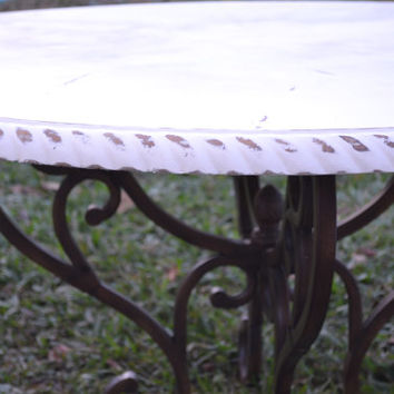 Shabby Cottage Table- French Linen- Antique White-Distressed Farm Table-Metal Pedestal-Ornate Base-Shabby Cottage Decor-Rustic Decor