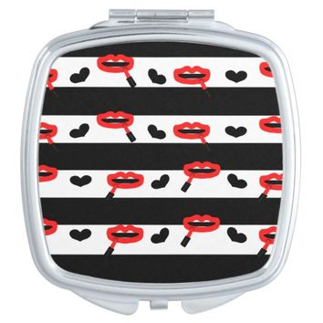 Lipstick on Lips & Hearts Pattern w/ B&W Stripes Vanity Mirror
